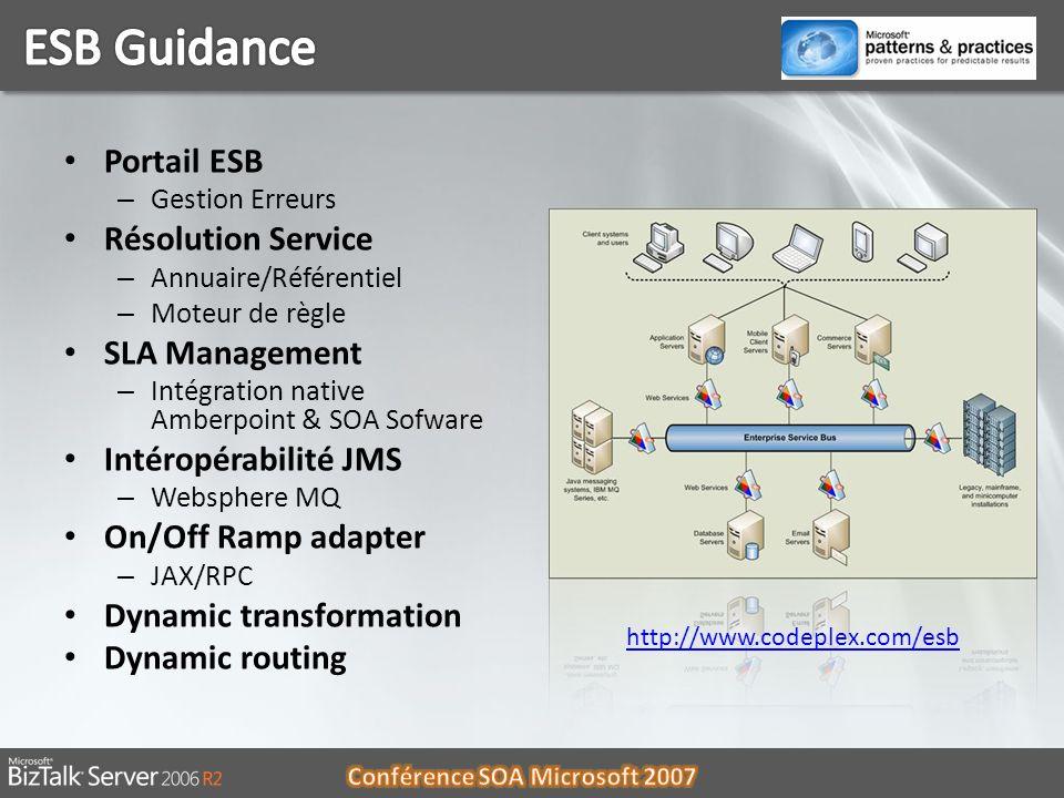 06/01/201415 Portail ESB – Gestion Erreurs Résolution Service – Annuaire/Référentiel – Moteur de règle SLA Management – Intégration native Amberpoint
