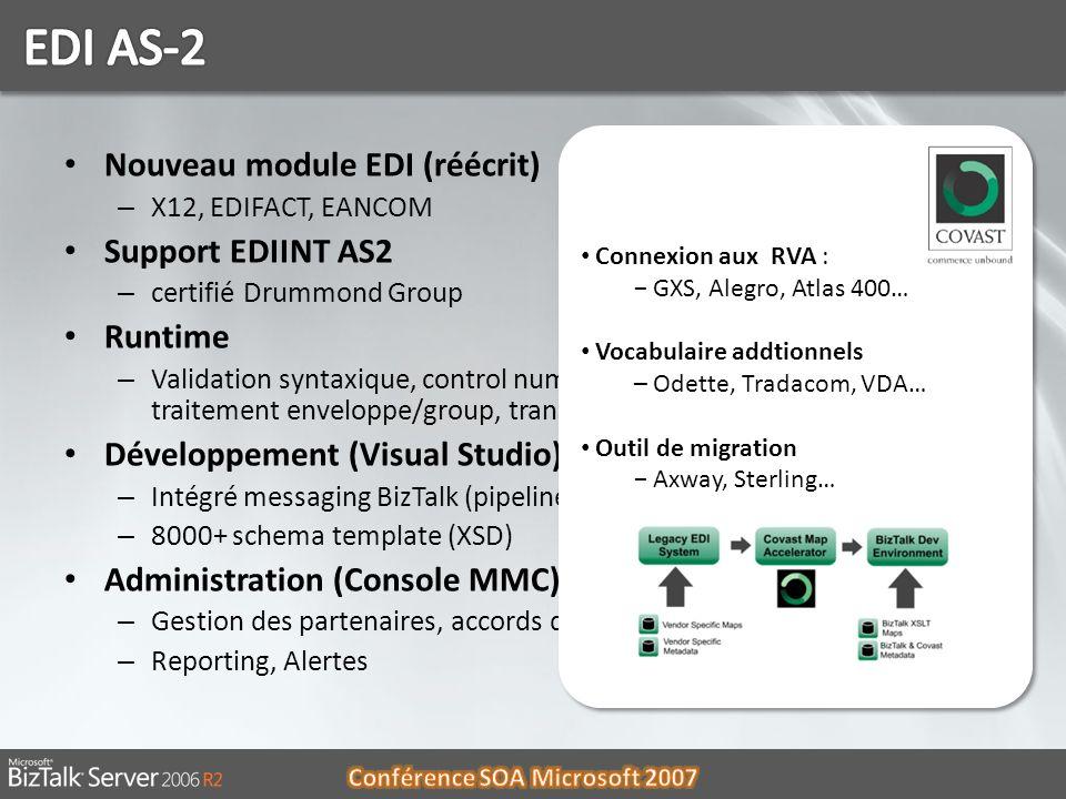 Nouveau module EDI (réécrit) – X12, EDIFACT, EANCOM Support EDIINT AS2 – certifié Drummond Group Runtime – Validation syntaxique, control number, ACK