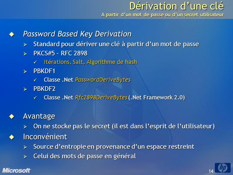 14 Dérivation dune clé A partir dun mot de passe ou dun secret utilisateur Password Based Key Derivation Password Based Key Derivation Standard pour d