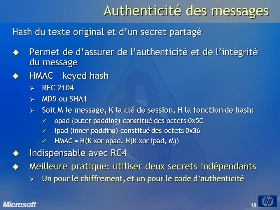 18 Authenticité des messages Hash du texte original et dun secret partagé Permet de dassurer de lauthenticité et de lintégrité du message Permet de da