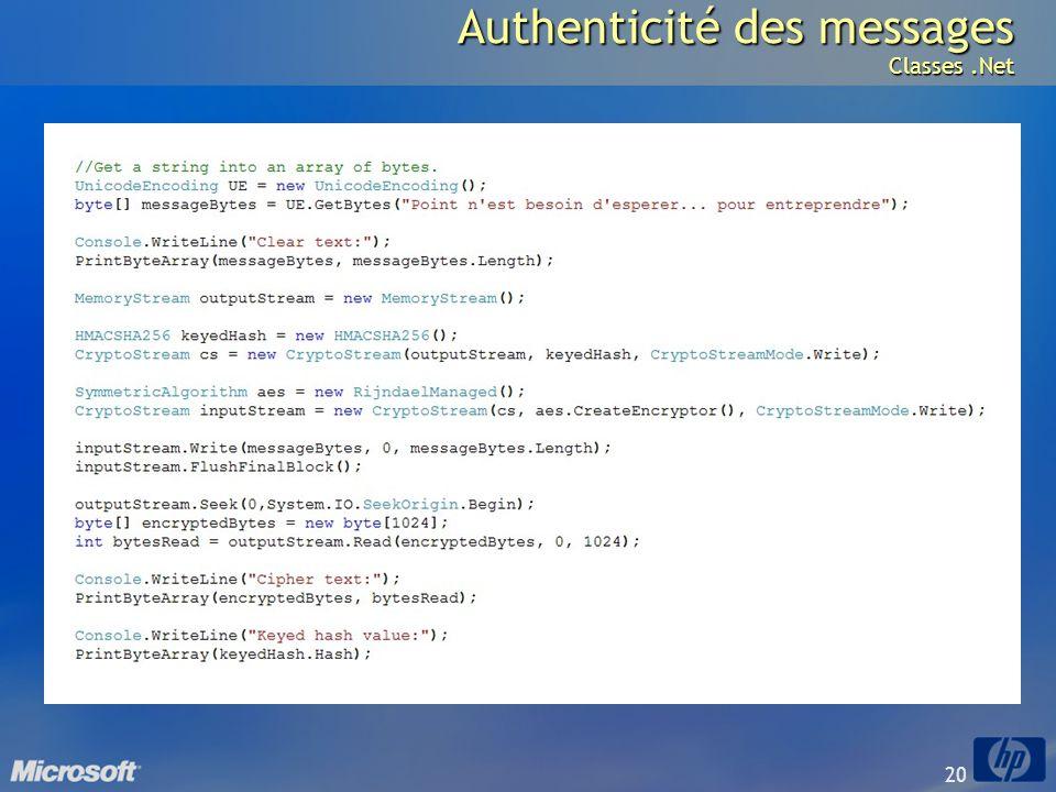 20 Authenticité des messages Classes.Net