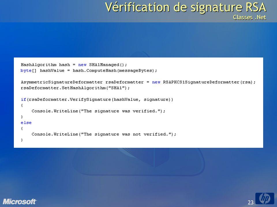 23 Vérification de signature RSA Classes.Net