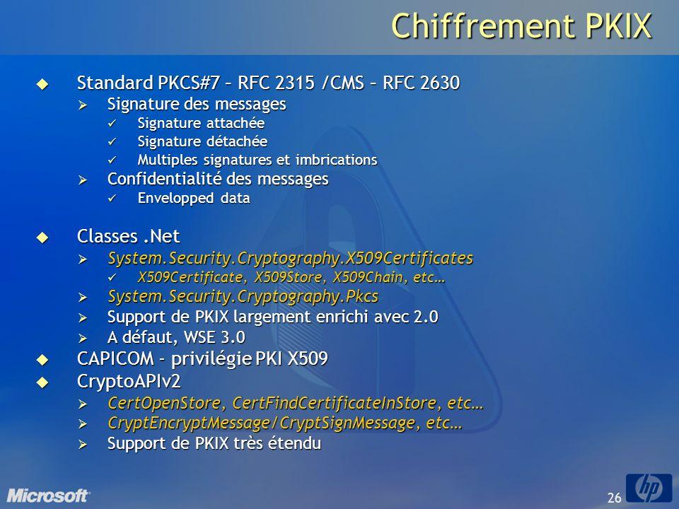 26 Chiffrement PKIX Standard PKCS#7 – RFC 2315 /CMS – RFC 2630 Standard PKCS#7 – RFC 2315 /CMS – RFC 2630 Signature des messages Signature des message