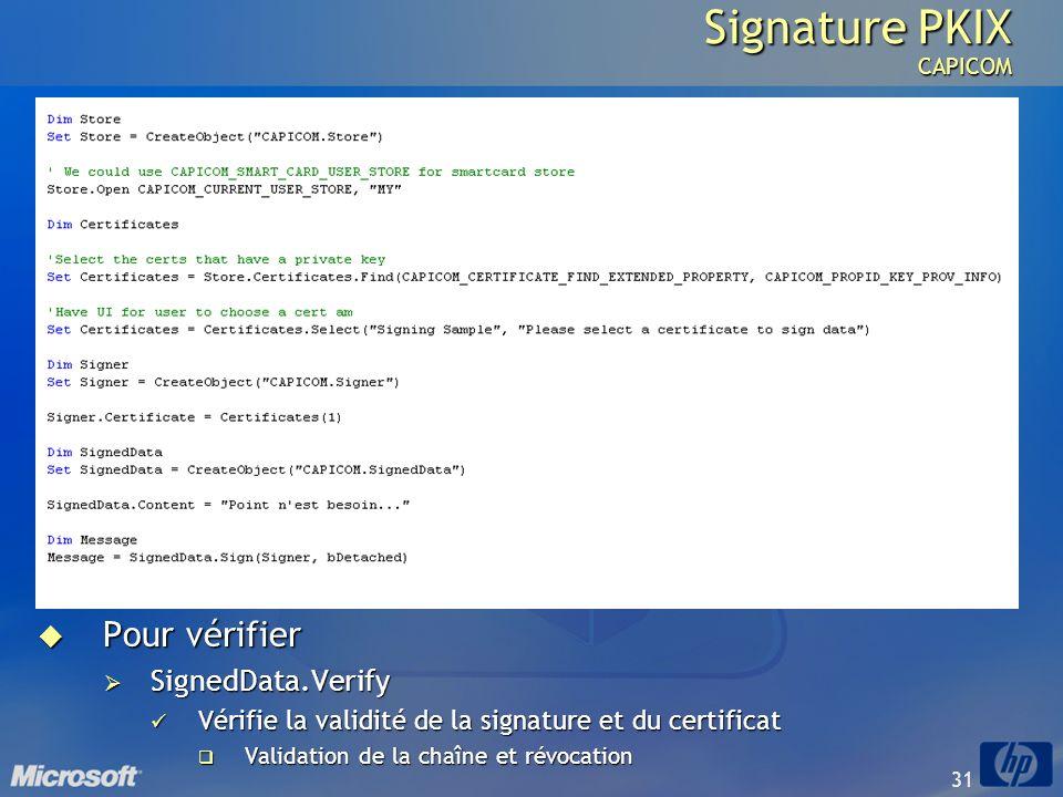 31 Signature PKIX CAPICOM Pour vérifier Pour vérifier SignedData.Verify SignedData.Verify Vérifie la validité de la signature et du certificat Vérifie