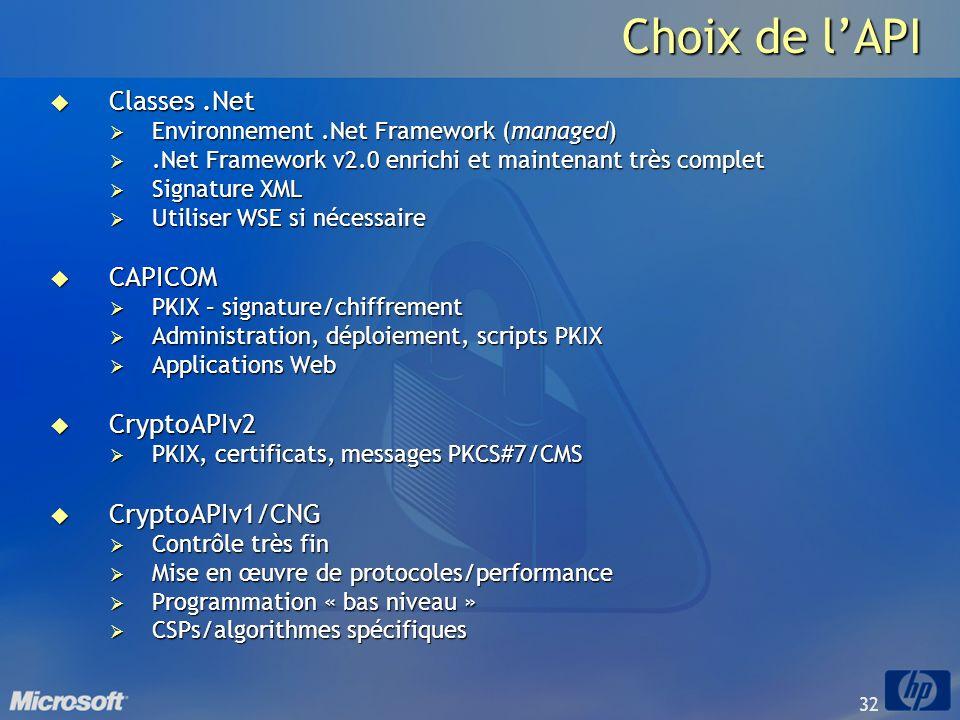 32 Choix de lAPI Classes.Net Classes.Net Environnement.Net Framework (managed) Environnement.Net Framework (managed).Net Framework v2.0 enrichi et mai