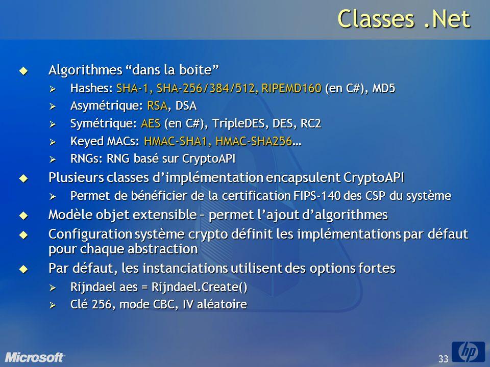 33 Classes.Net Algorithmes dans la boite Algorithmes dans la boite Hashes: SHA-1, SHA-256/384/512, RIPEMD160 (en C#), MD5 Hashes: SHA-1, SHA-256/384/5