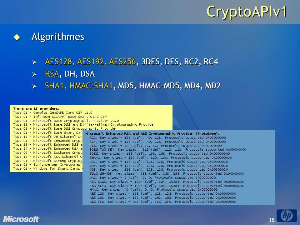 38CryptoAPIv1 Algorithmes Algorithmes AES128, AES192, AES256, 3DES, DES, RC2, RC4 AES128, AES192, AES256, 3DES, DES, RC2, RC4 RSA, DH, DSA RSA, DH, DS