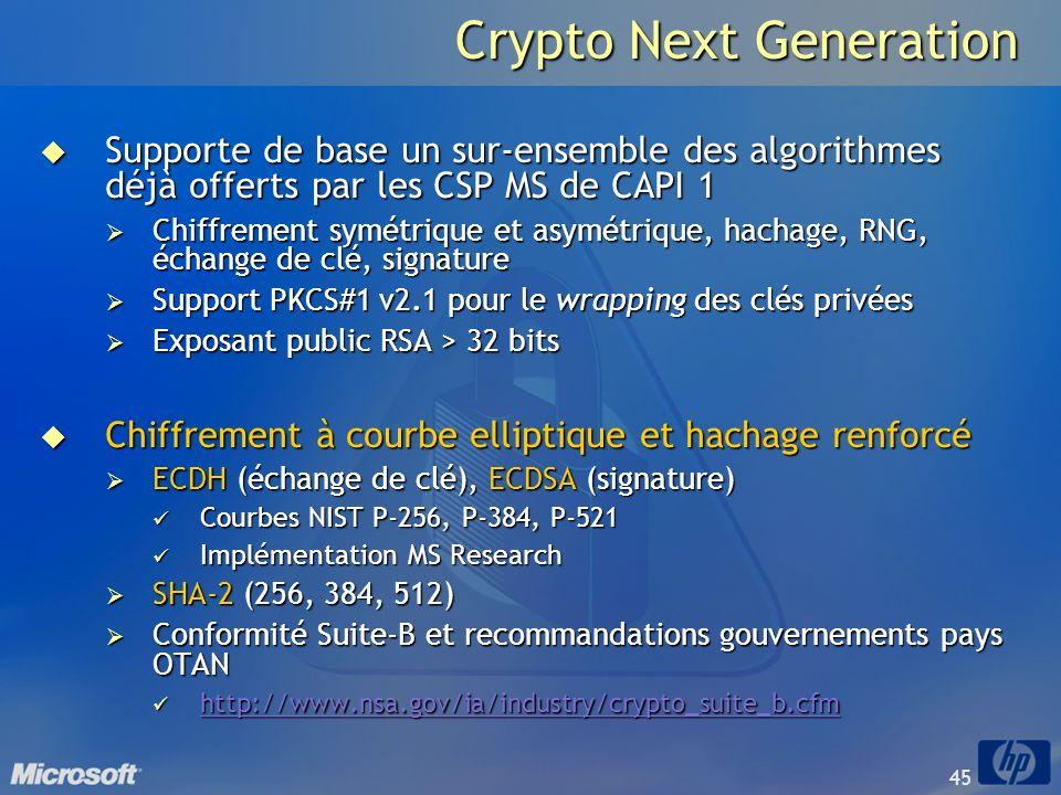 45 Crypto Next Generation Supporte de base un sur-ensemble des algorithmes déjà offerts par les CSP MS de CAPI 1 Supporte de base un sur-ensemble des