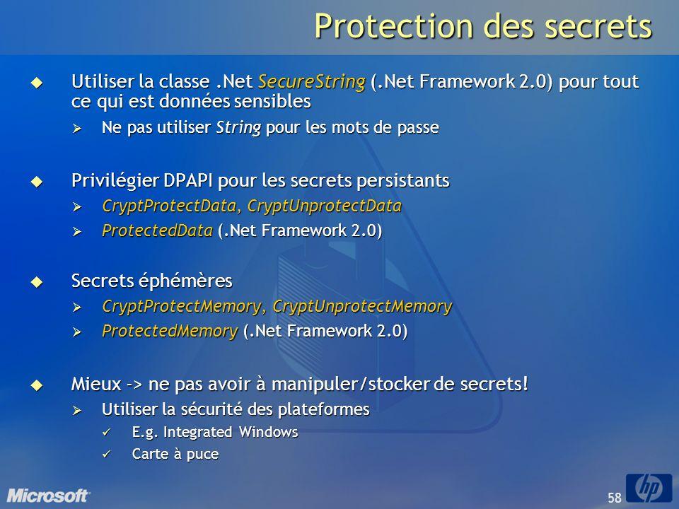 58 Protection des secrets Utiliser la classe.Net SecureString (.Net Framework 2.0) pour tout ce qui est données sensibles Utiliser la classe.Net Secur