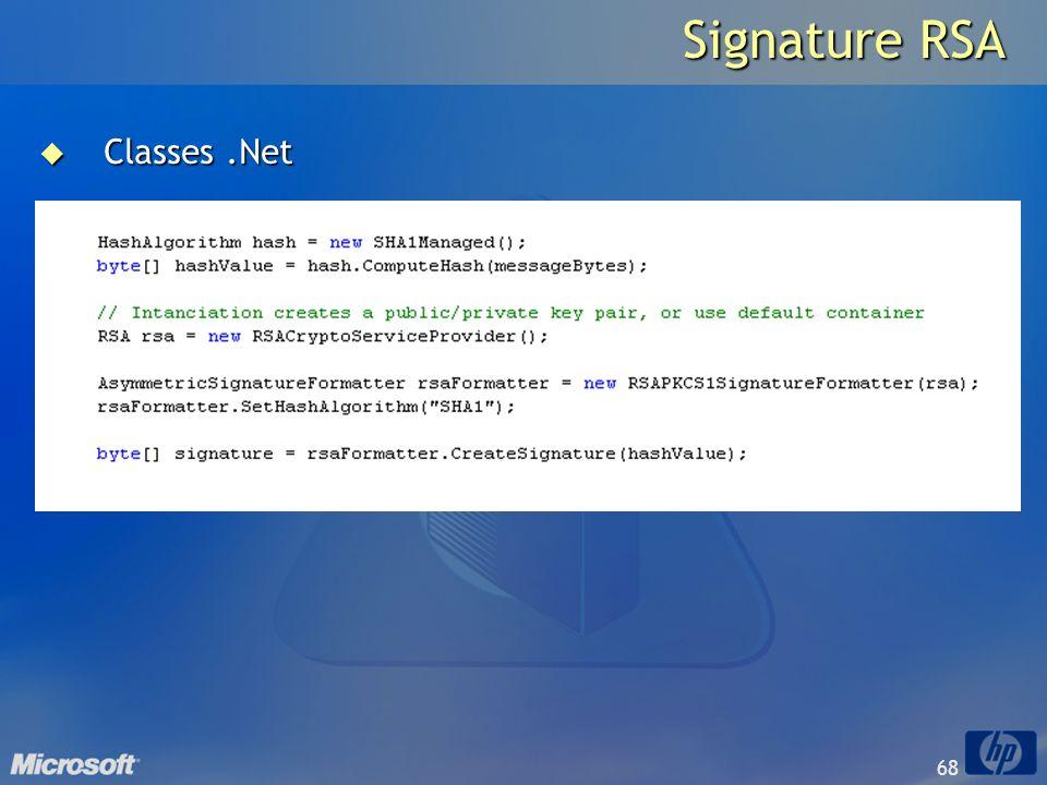 68 Signature RSA Classes.Net Classes.Net