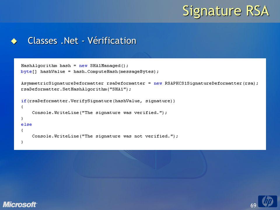 69 Signature RSA Classes.Net - Vérification Classes.Net - Vérification