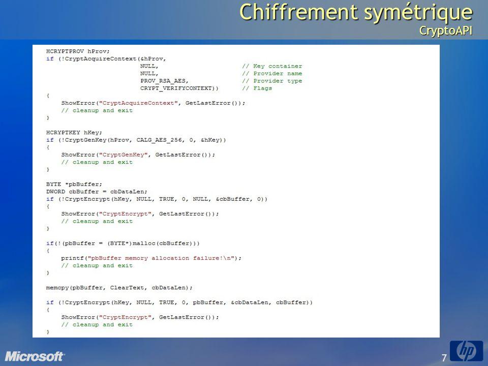 7 Chiffrement symétrique CryptoAPI