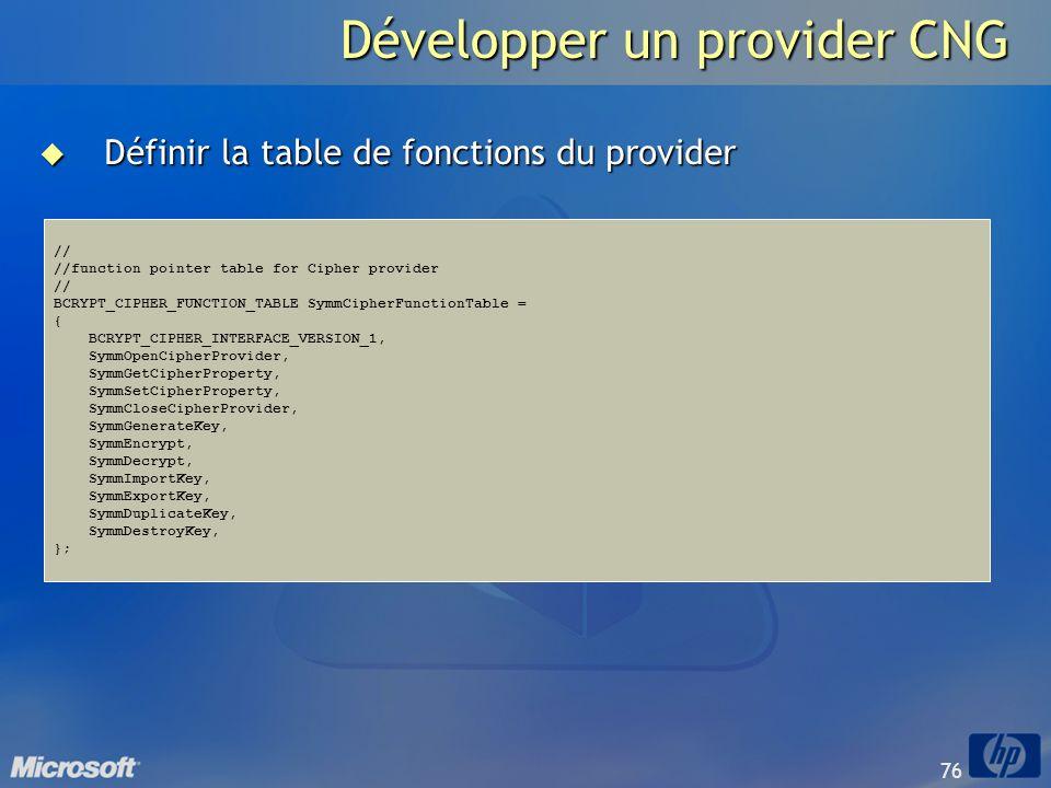 76 Développer un provider CNG Définir la table de fonctions du provider Définir la table de fonctions du provider // //function pointer table for Ciph
