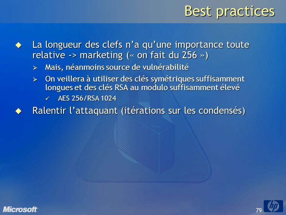 79 Best practices La longueur des clefs na quune importance toute relative -> marketing (« on fait du 256 ») La longueur des clefs na quune importance