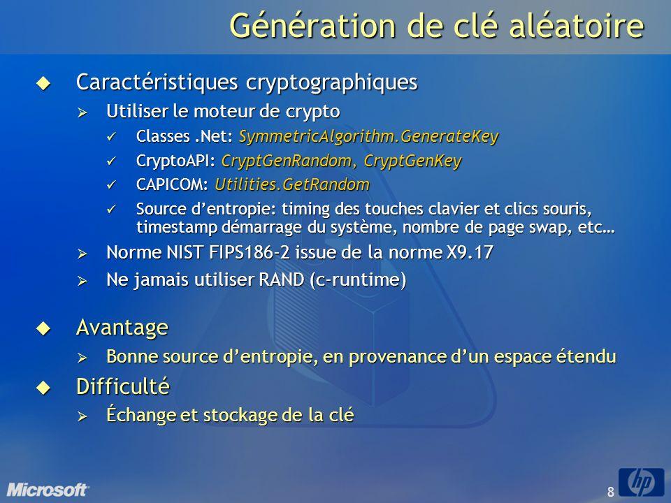 8 Génération de clé aléatoire Caractéristiques cryptographiques Caractéristiques cryptographiques Utiliser le moteur de crypto Utiliser le moteur de c