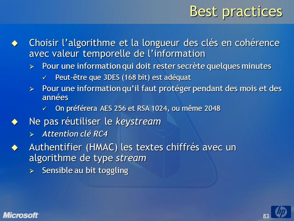 83 Best practices Choisir lalgorithme et la longueur des clés en cohérence avec valeur temporelle de linformation Choisir lalgorithme et la longueur d