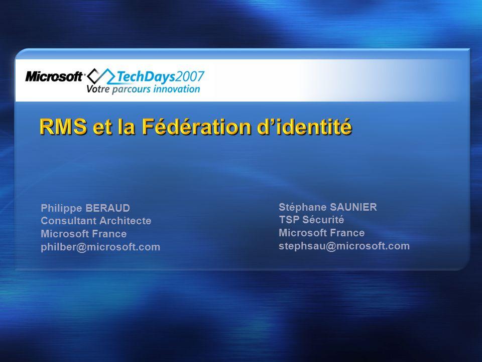 Certification du compte SPC f.La clé privée de lutilisateur est chiffrée avec la clé publique de la machine DOMAIN\username SID username@domain.com a.Le client RMS initie une demande de certification au serveur RMS en envoyant le SPC b.Lutilisateur est authentifié d.Ladresse de courriel est obtenue de lAD e.Une paire de clés RSA 1024-bit est générée et stockée dans la base de données RMS c.Le serveur valide le SPC