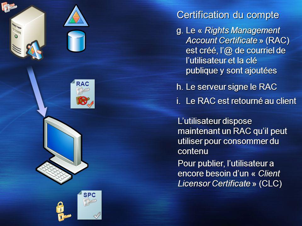 SPC RAC Certification du compte i.Le RAC est retourné au client Lutilisateur dispose maintenant un RAC quil peut utiliser pour consommer du contenu Po