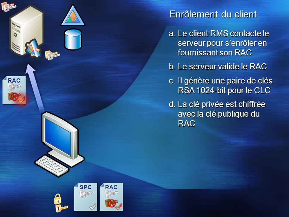 RAC Enrôlement du client a.Le client RMS contacte le serveur pour senrôler en fournissant son RAC c.Il génère une paire de clés RSA 1024-bit pour le C