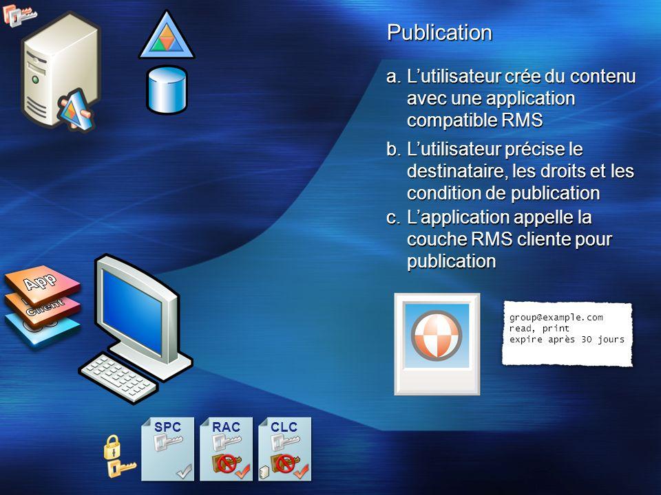 Publication a.Lutilisateur crée du contenu avec une application compatible RMS c.Lapplication appelle la couche RMS cliente pour publication b.Lutilis