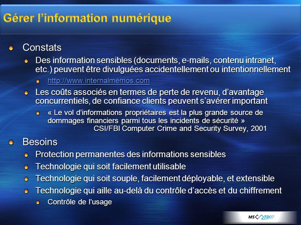 Technologie dinfrastructure destinée aux environnements dentreprise pour la protection des documents et courriels Nest pas destinée à la protection de laudio, vidéo et media en « streaming » Ne nécessite pas dinfrastructure PKI X.509 REL Certificats/Licences XrML (eXtensible Rights Markup Language, http://www.xrml.org) intégrés et transparents pour lutilisateur et ladministrateur http://www.xrml.org Permet non seulement le contrôle daccès à linformation, mais surtout le contrôle de lusage qui en est fait Protection de linformation indépendamment dun périmètre La protection est attachée à linformation Lauteur/propriétaire définit et applique une politique dusage Attachée à linformation Indépendant du format des données Persiste et suit linformation