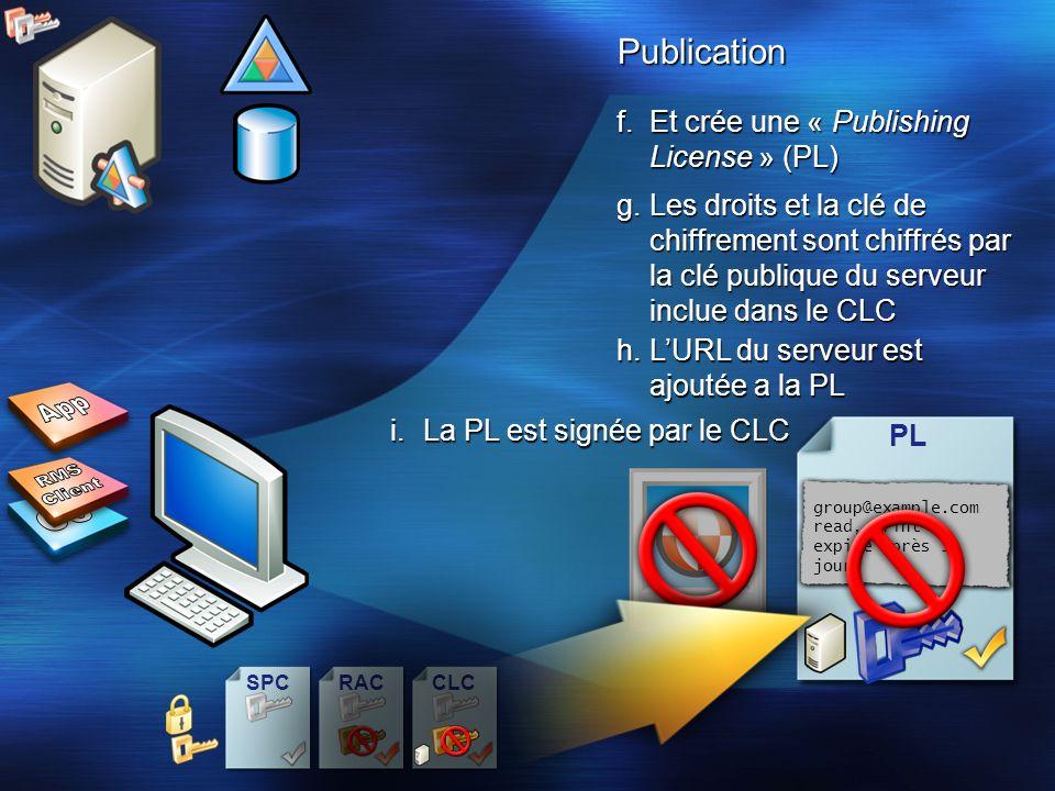 CLCSPCRAC f.Et crée une « Publishing License » (PL) PLPublication g.Les droits et la clé de chiffrement sont chiffrés par la clé publique du serveur i