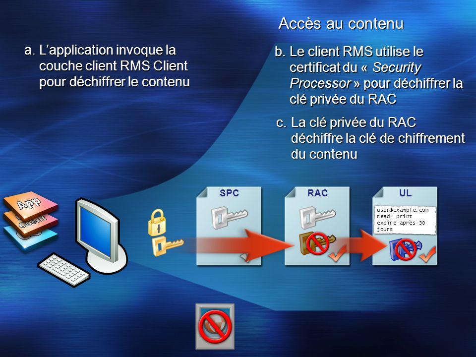 Accès au contenu SPCUL user@example.com read, print expire après 30 jours RAC b.Le client RMS utilise le certificat du « Security Processor » pour déc