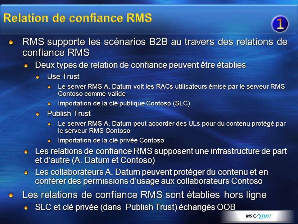 RMS supporte les scénarios B2B au travers des relations de confiance RMS Deux types de relation de confiance peuvent être établies Use Trust Le server