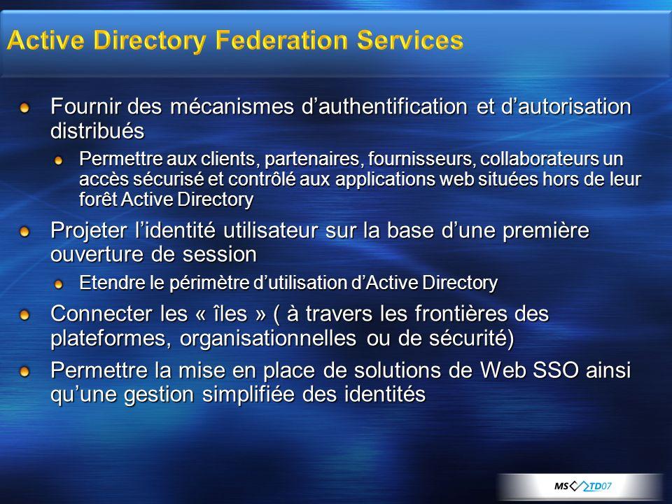 Fournir des mécanismes dauthentification et dautorisation distribués Permettre aux clients, partenaires, fournisseurs, collaborateurs un accès sécuris
