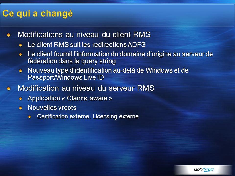 Modifications au niveau du client RMS Le client RMS suit les redirections ADFS Le client fournit linformation du domaine dorigine au serveur de fédéra