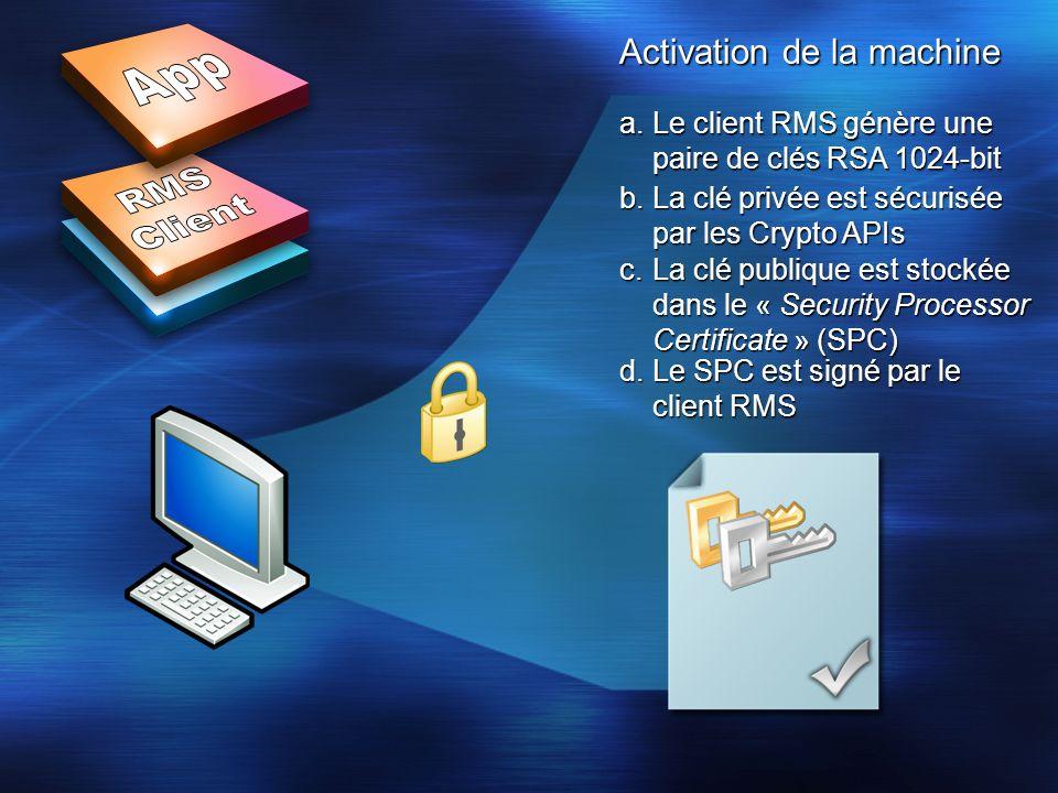 Activation de la machine a.Le client RMS génère une paire de clés RSA 1024-bit b.La clé privée est sécurisée par les Crypto APIs c.La clé publique est stockée dans le « Security Processor Certificate » (SPC) d.Le SPC est signé par le client RMS