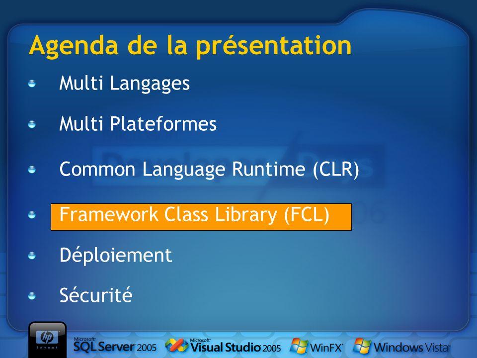 Le.Net Framework Microsoft Intermediate Language (MSIL) Common Language Runtime (CLR) Framework Class Library Accessible depuis tous les langages