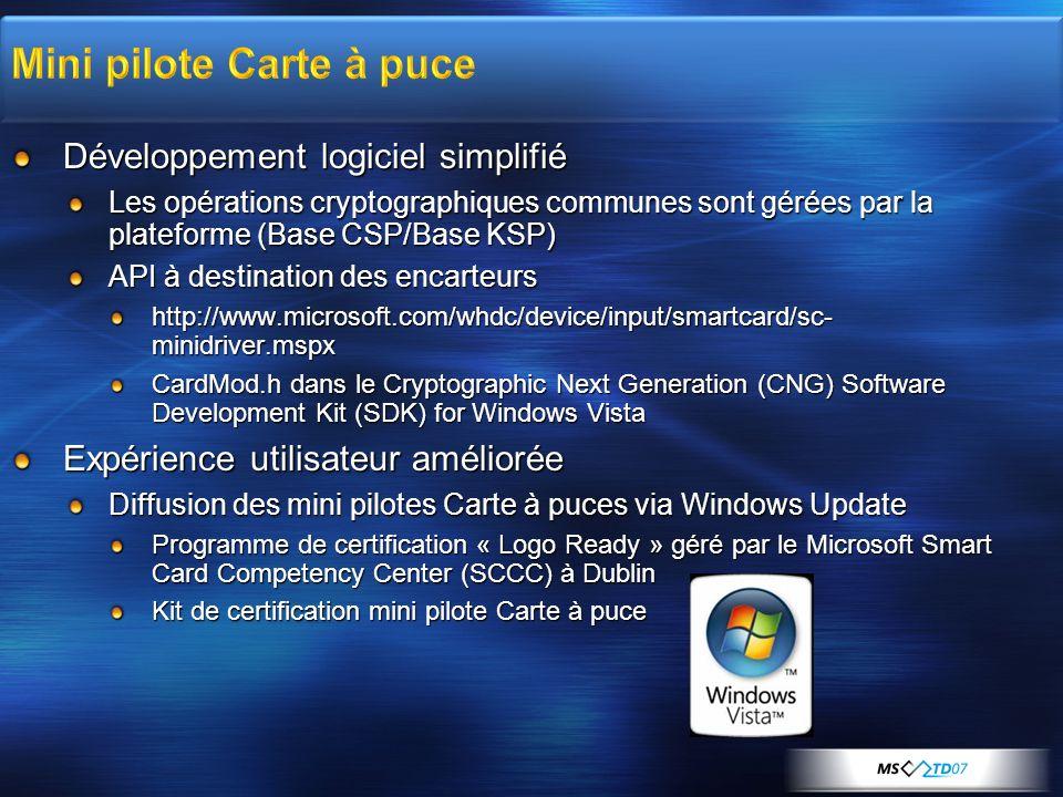 Développement logiciel simplifié Les opérations cryptographiques communes sont gérées par la plateforme (Base CSP/Base KSP) API à destination des enca