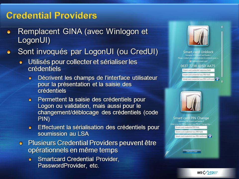 Remplacent GINA (avec Winlogon et LogonUI) Sont invoqués par LogonUI (ou CredUI) Utilisés pour collecter et sérialiser les crédentiels Décrivent les c