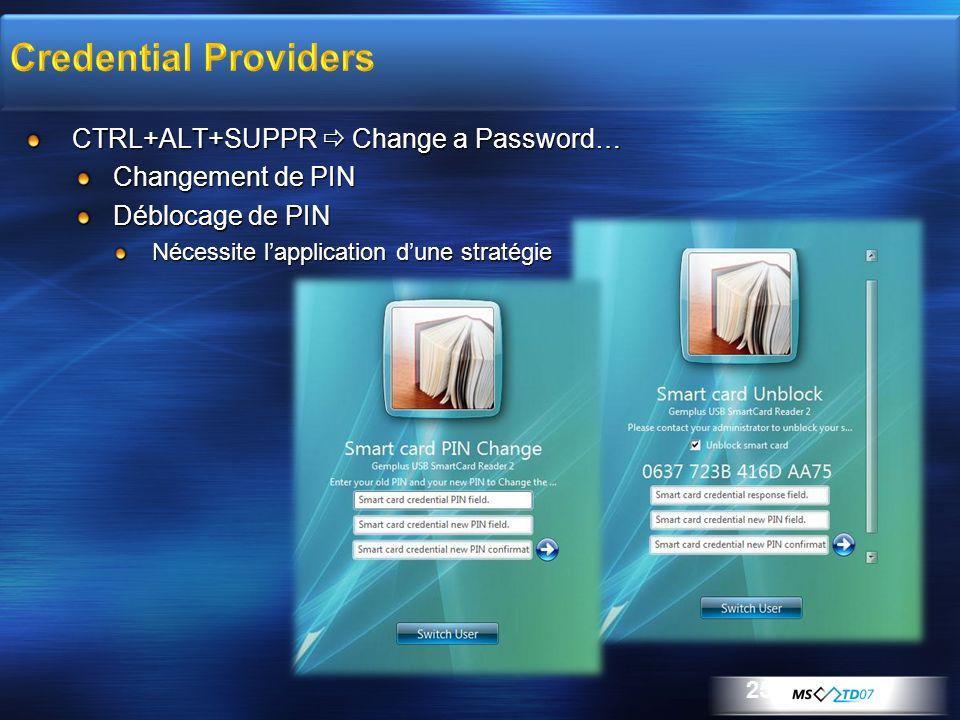 25 CTRL+ALT+SUPPR Change a Password… Changement de PIN Déblocage de PIN Nécessite lapplication dune stratégie