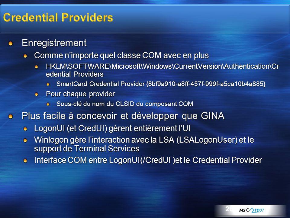 Enregistrement Comme nimporte quel classe COM avec en plus HKLM\SOFTWARE\Microsoft\Windows\CurrentVersion\Authentication\Cr edential Providers SmartCa
