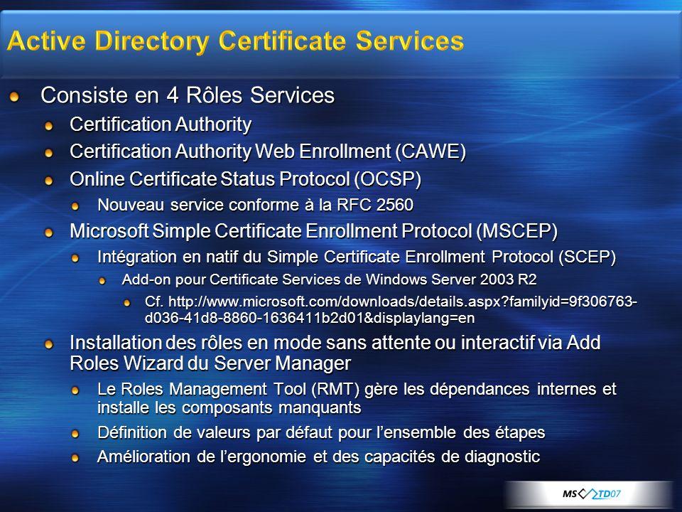 Consiste en 4 Rôles Services Certification Authority Certification Authority Web Enrollment (CAWE) Online Certificate Status Protocol (OCSP) Nouveau s