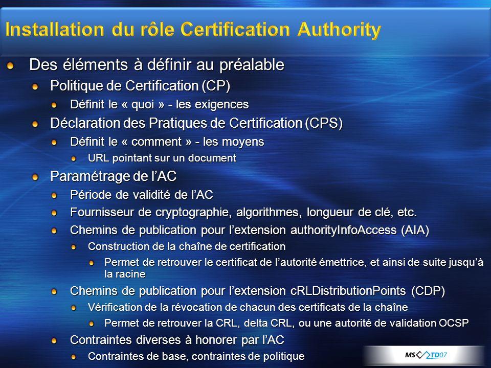 Des éléments à définir au préalable Politique de Certification (CP) Définit le « quoi » - les exigences Déclaration des Pratiques de Certification (CP