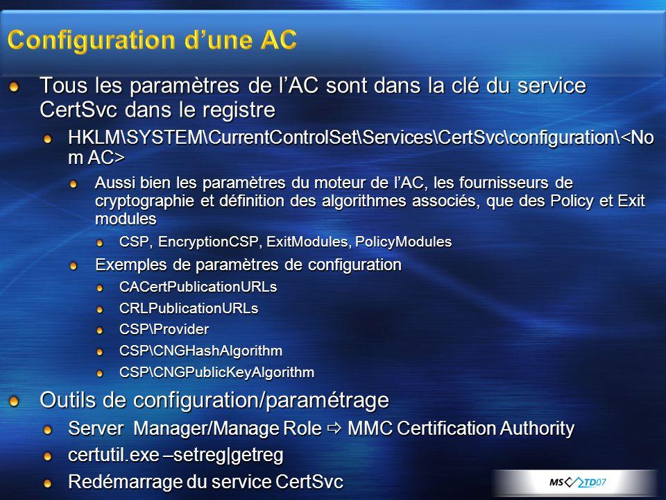 Tous les paramètres de lAC sont dans la clé du service CertSvc dans le registre HKLM\SYSTEM\CurrentControlSet\Services\CertSvc\configuration\ HKLM\SYS