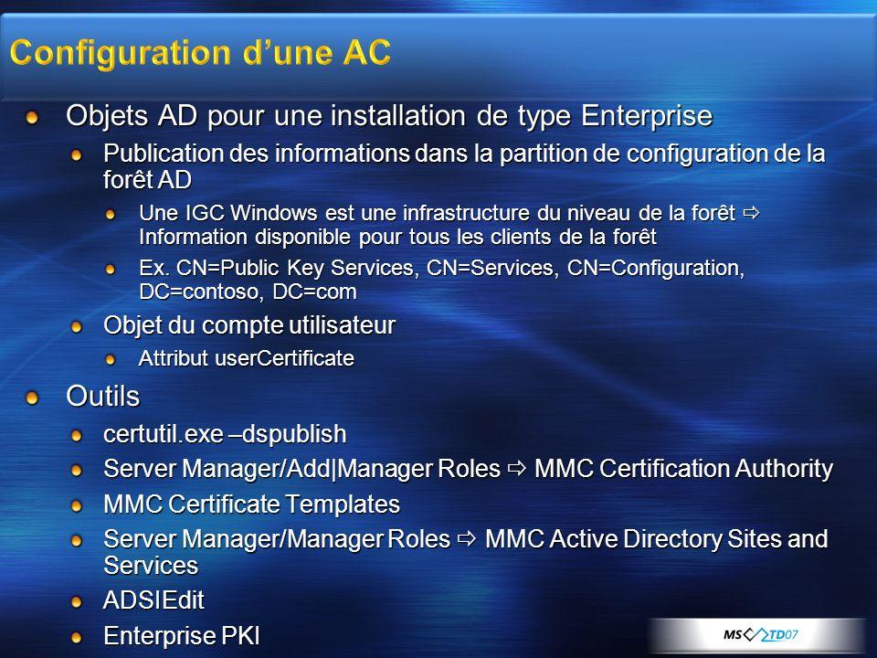 Objets AD pour une installation de type Enterprise Publication des informations dans la partition de configuration de la forêt AD Une IGC Windows est
