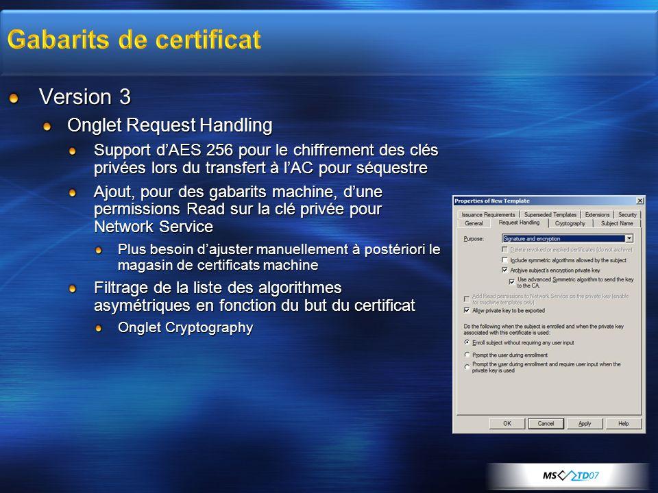 Version 3 Onglet Request Handling Support dAES 256 pour le chiffrement des clés privées lors du transfert à lAC pour séquestre Ajout, pour des gabarit