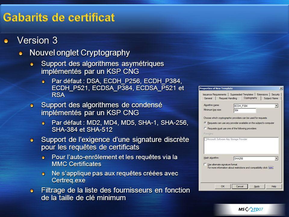 Version 3 Nouvel onglet Cryptography Support des algorithmes asymétriques implémentés par un KSP CNG Par défaut : DSA, ECDH_P256, ECDH_P384, ECDH_P521
