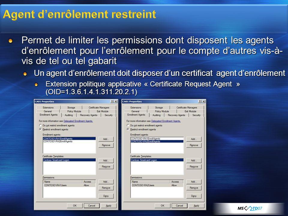 Permet de limiter les permissions dont disposent les agents denrôlement pour lenrôlement pour le compte dautres vis-à- vis de tel ou tel gabarit Un ag