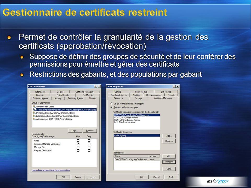 Permet de contrôler la granularité de la gestion des certificats (approbation/révocation) Suppose de définir des groupes de sécurité et de leur confér