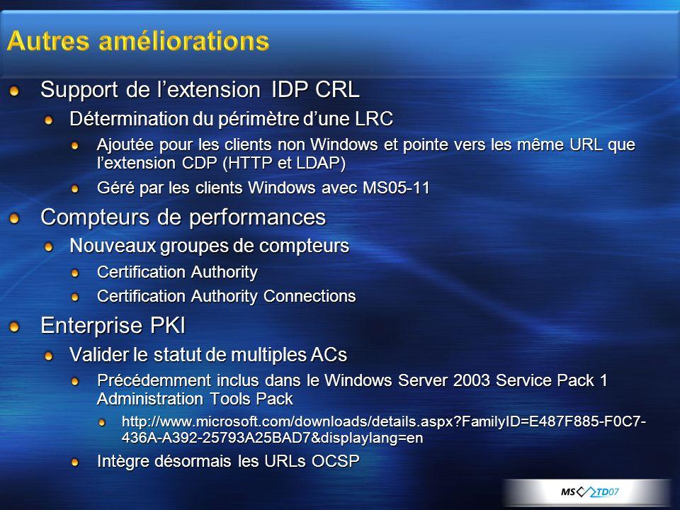 Support de lextension IDP CRL Détermination du périmètre dune LRC Ajoutée pour les clients non Windows et pointe vers les même URL que lextension CDP