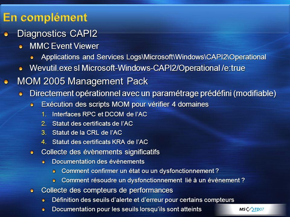 Diagnostics CAPI2 MMC Event Viewer Applications and Services Logs\Microsoft\Windows\CAPI2\Operational Wevutil.exe sl Microsoft-Windows-CAPI2/Operation