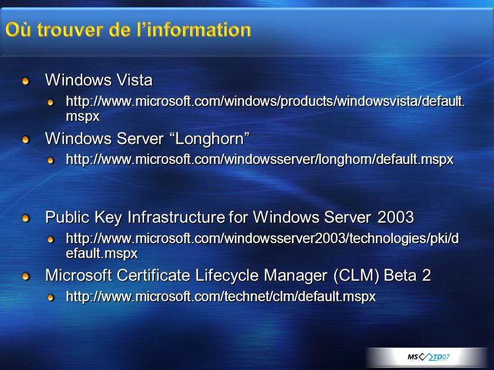 Windows Vista http://www.microsoft.com/windows/products/windowsvista/default. mspx Windows Server Longhorn http://www.microsoft.com/windowsserver/long