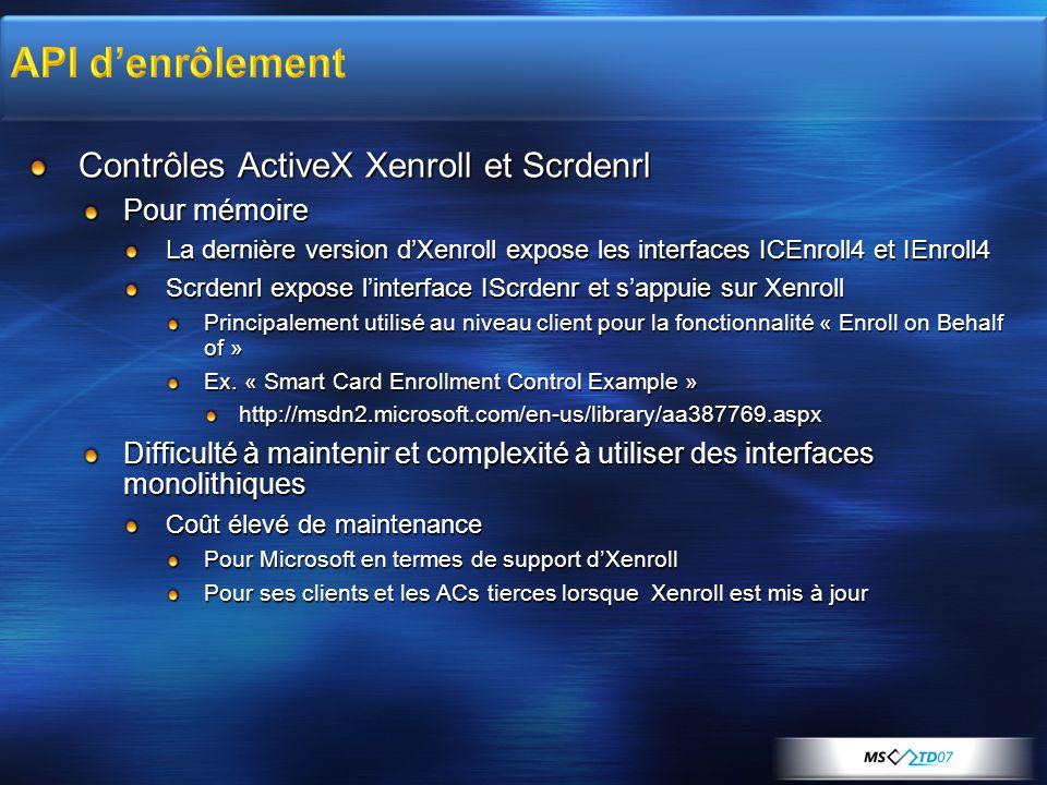 Contrôles ActiveX Xenroll et Scrdenrl Pour mémoire La dernière version dXenroll expose les interfaces ICEnroll4 et IEnroll4 Scrdenrl expose linterface