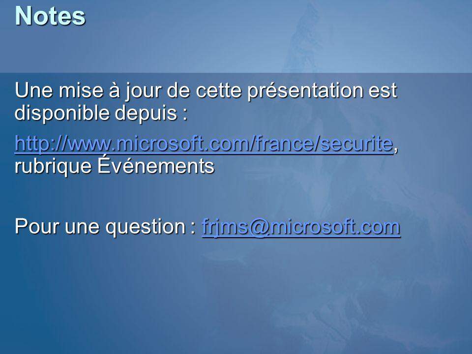 Notes Une mise à jour de cette présentation est disponible depuis : http://www.microsoft.com/france/securitehttp://www.microsoft.com/france/securite,