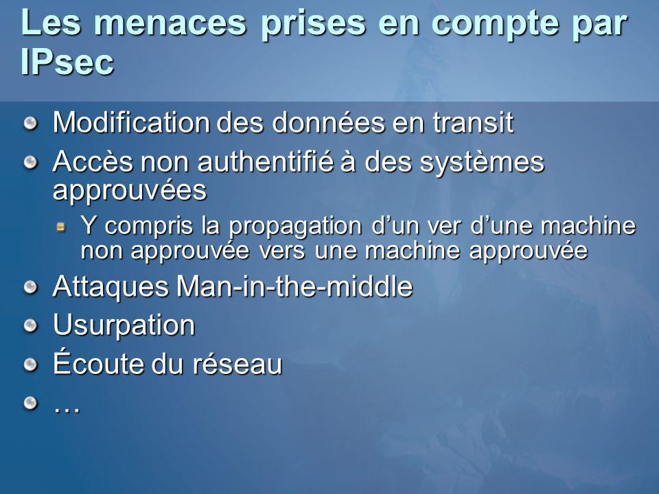 Les menaces prises en compte par IPsec Modification des données en transit Accès non authentifié à des systèmes approuvées Y compris la propagation du